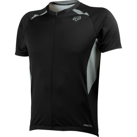 Fitness When the temperature rises, the Fox Aircool Race Jersey lives up to its name. Breathable fabrics and plenty of airflow combine to prevent the risk of overheating. And with a contoured cut and three pockets, you get all of the functionality you want, along with the comfort that you need. Fox constructed the Aircool Race jersey out of its proprietary Aircool fabric. As the name implies, this polyester blend provides a high-level of breathability and moisture wicking characteristics. Wicking starts out by transporting sweat away from your skin, and exposing that moisture to fibers that have more surface area than your skin. In turn, the Aircool jersey accelerates the evaporation of your sweat, keeping you dry and comfortable. Additionally, the fabric's already generous airflow gets a boost from mesh panels underneath the arms in order to enhance the core cooling venting. The Aircool jersey's contoured cut and elongated rear hem conform to your body while you're riding. Additionally, Fox included three rear pockets for holding all of your nutrition or tools accessories. Better yet, there's a fourth zippered pocket with an audio cord interface leading up to the collar. So, you'll be able to keep your keys or electronic devices safe during your ride. The Fox Aircool Race Jersey is available in five sizes from Small to XX-Large and in the colors Black, Red, and Charcoal. - $59.95