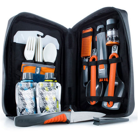 Camp and Hike With the GSI Outdoors Destination Kitchen 24 Set stashed in your pack, you can be confident you'll have everything you need to cook like a king when you're deep in the backcountry. This 24-piece set includes four cutlery sets, folding tools, a cutting board, utility knife, spice shakers, and much more. Even better, the entire kit weighs just under two pounds, and the included nylon case keeps your cooking gear securely stowed and organized. - $49.95