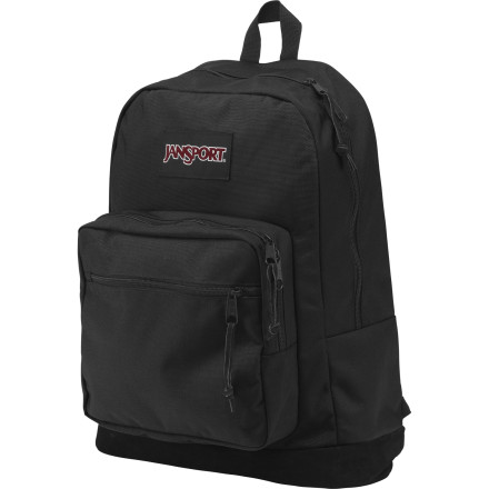 Entertainment A step up from the standard school pack, the Jansport Right Pack De Laptop Backpack features classic styling but is built for the digital age. A padded internal sleeve protects your computer when you're on the go, and a separate tricot-lined sleeve secures your tablet when you don't feel like bringing your laptop. The zippered front pocket has an electronic-specific organizer so you can keep your media player, headphones, and other modern essentials in order. - $64.95