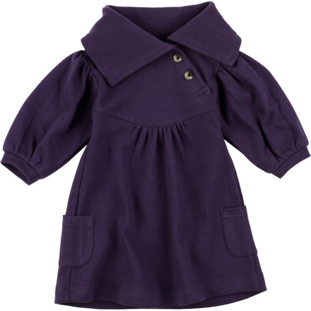 The Kate Quinn Organics Infant Girls' Lounge Long-Sleeve Dress snuggles her in chic comfort for family photos or gatherings, and outings about town. - $31.95