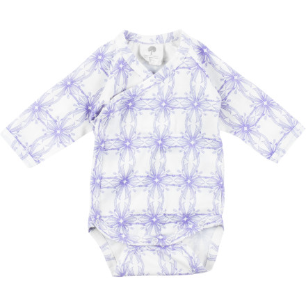 Camp and Hike Wrap your little snuggle-bug in the Kate Quinn Organics Infant Girl's Kimono Long-Sleeve Bodysuit, place her in the baby carrier, and take her for a short hike on this fine sunny day. - $19.95
