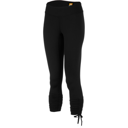 Fitness Flexibility isn't just about pretzel-like poses; options give you flexibility, and the Lucy Women's Convertible Power Legging lets you go long or cinched-up short. This PowerMax compressive, stretchy, and moisture-wicking pant features drawcord tunnels that give you a capri-length option with cool gathers at the sides. Show some skin, or go long and lean for true flexibility. - $89.00