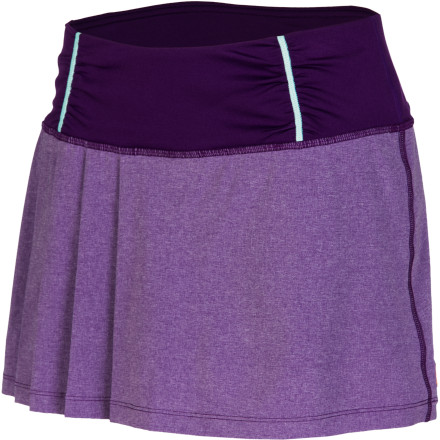 Fitness A running skirt is definitely a way to femme-up your workouts, and the sweet and pleated Lucy Women's Fast As You Can Skirt level it up a notch. After all, a spandex skirt is only a few seams away from your basic short. This high-tech bottom provides the stretch, breathability, wicking, and quick-drying performance in shades beyond shiny black and adds pleating for leg and spirit liberation. A wide knit waistband with internal drawcord fits comfortably every day, and a CoolMax gusset adds further mobility and moisture-wicking comfort. - $69.00