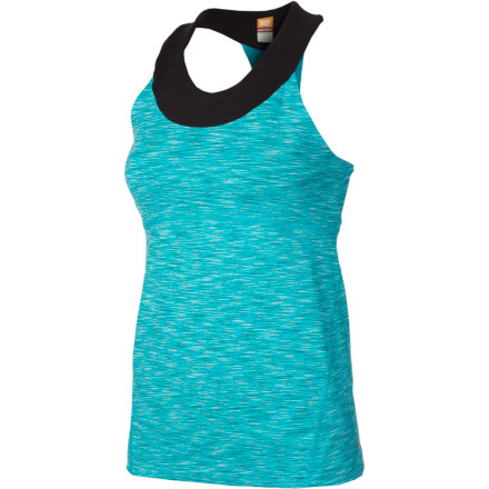 Fitness From summer morning runs to fresh yoga sessions, suit up in the flattering yet modest Lucy Women's Novelty Balance Tank Top. The moisture-wicking nylon blend with a mesh racerback keeps you comfy when you break a sweat, and the built-in shelf bra supplies comfortable support. - $59.00