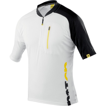 Fitness When it's heating up outside, Mavic's Notch Graphic Jersey is just getting comfortable. This warm weather jersey has a relaxed fit and sweat-wicking materials that enable you to focus on the ride at hand, not your jersey. For its construction, Mavic built the Notch Graphic jersey out of a proprietary polyester blend that's called Ride Wick. Key to your comfort, Mavic chose this fabric for its light weight and moisture wicking properties. By wicking sweat away from the skin, the Notch jersey is able to use evaporative cooling to lower your core temperature. And in case you're wondering what 'evaporative cooling' is, basically, as moisture evaporates, it drives down the temperature of the surrounding air. So, both your jersey and your skin stay cool and dry. And to take this thermo-regulation a step even further, the lightweight fabric provides a high-level of air permeability, furthering the jersey's core-cooling airflow. A relaxed, trail-oriented cut keeps the Notch jersey close to the skin, while still providing enough room to keep the jersey casual and comfortable. Additionally, the jersey features a 1/3-length front zipper that lets you evacuate heat in a hurry. This zipper leads up to a low profile collar that stays against your neck when your zipper is open. Mavic forgoes lower-back pockets in favor of one zipper pocket on the chest. This affords you some storage options, while also acknowledging that hydration packs have become the standard for mountain bikers everywhere. The Mavic Notch Graphic Jersey is available in six sizes from X-Small to XX-Large and in the colors Yellow Mavic/black and White/black. - $59.95