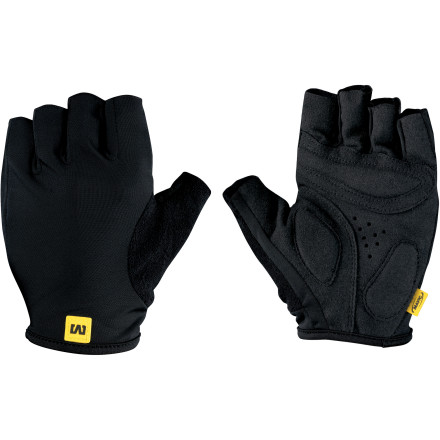 MTB Mavic designed the Neo Pro Gloves for anyone that prefers functionality to flash. With a moderately padded palm and breathable materials, these gloves ensure comfort over rough roads on warm days. For the construction of the Neo Pro gloves, Mavic incorporated its Sleek Stretch fabric for the back of the hand. Basically, Mavic chose this material for its stretch and air permeability. So, air keeps flowing over the back of your hand in order to keep you cool. And if stretch and airflow weren't enough, Mavic built the Neo Pro gloves with a contoured, pre-shaped cut, which makes fabric bunching a non-issue. To top it off, there's a terry cloth panel on the back of the thumbs for on-the-fly sweat wipes. At the palm, Mavic uses the trusted Clarino synthetic leather for its grip and long wear life. And Mavic ups the ante even more by placing two pads on the palm, protecting the nerves in your hands from road vibrations, regardless of your position on the bars. The Mavic Neo Pro Gloves are available in five sizes from Small to XX-Large and in the colors Black and White. - $19.95