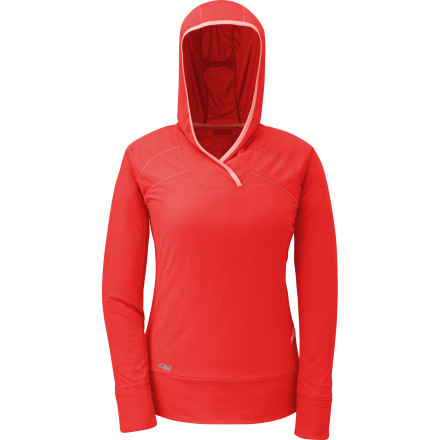 Climbing Before climbing out of your tent on a brisk alpine morning, pull on the Outdoor Research Women's Echo Hoodie. The soft polyester traps warmth in cool temps yet wicks away moisture and dries quickly if you start to sweat. Even better, the fold-over cuffs convert to mittens to keep your hands cozy while sipping your morning cup of joe. - $58.95