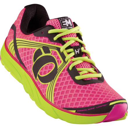 Fitness If you're tired of stability running shoes that make you feel like you have bulky, unresponsive pads strapped to your feet, you're in for a treat. The Pearl Izumi Women's EM Road H 3 Running Shoe targets runners in need of serious rearfoot pronation control and a healthy dose of cushioning, yet manages to stay light, lively, and responsive. The broad E:Motion midsole platform and high-density medial post corrects and cushions each foot strike and provides just the right amount of lateral stability. The seamless upper hugs your foot for a supportive, socklike fit, while underfoot the low-drop Dynamic Offset midsole smooths your transition from heel strike to toe-off. - $129.95