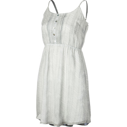 The QSW Hand Drawn Herringbone Dress gives you an effortless elegance that is summery and chic thanks to silk chiffon simplicity and a soft pleated skirt. This dress is great for sipping champagne while you take in the sunset. - $108.00