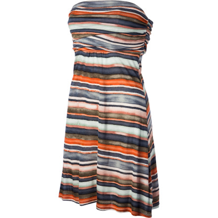 Wear the QSW Painted Stripe Dress when you want a look that is both laid-back and polished. Soft fabric gives you the feel of your favorite T-shirt, while the fashion print and clean design keep you ready for those occasions that will probably require you to slip out of your flip-flops and into some heels. - $58.00