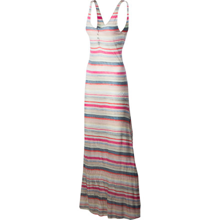 Surf Summer and the Quiksilver Women's Topanga Maxi Dress go together like the sand and sea, salt and lime, or flip and flop. Its silky smooth and drapey modal fabric flows in the breeze and feels luxurious against skin. A tank-style top shows off those tan shoulders and flatters every figure, and the shell-colored stripes look good enough to eat. With the elegance of a maxi and the sporty Quiksilver style, there's enough versatility here for a stroll on the beach to an uptown rooftop shindig. - $80.00