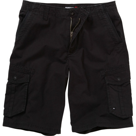 Surf Treat yourself with the Quiksilver Men's Deluxe Short. Lightweight cotton twill and a roomy regular fit provide a cool, comfy fit, and cargo pockets give you storage room when you have extra stuff to stash. - $52.00