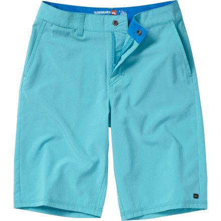Surf There's a good chance that after your boy tries the Quiksilver F Boys' Hybrid Short, it's going to be the only thing he wears for the rest of the summer. That's because it's made with a water-repellent, four-way stretch fabric so he can go from the skatepark to the pool without having to change. - $39.50