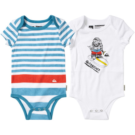 Surf It's the classic, essential cotton one-piece, but with cool-kid graphicthe Quicksilver Infant Boys' Gimmie Gimmie One-Piece Suit provides everyday comfort and surfer style. Two-pack gift set provides a backup for your messy boy. - $32.00