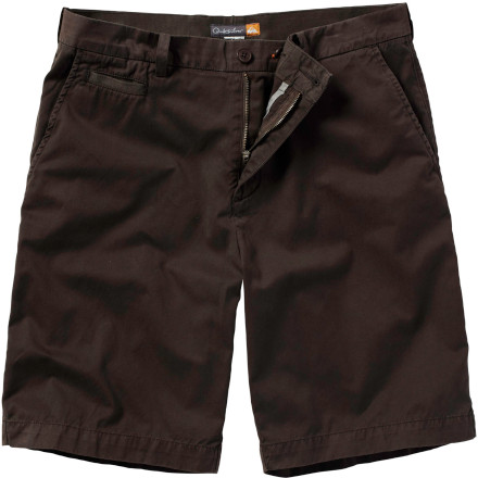 Surf Don't stay soggy. Peel off that sticky boardshort, and pull on the buttery-soft Quiksilver Waterman Men's Down Under 2 Short. Made from garment-dyed cotton, this cool, breathable walkshort will feel like a summer's breeze after all that waterlogged surf action. A flat front and French fly give it sophisticated-man style, while tons of color choices let you match your mood. - $59.50