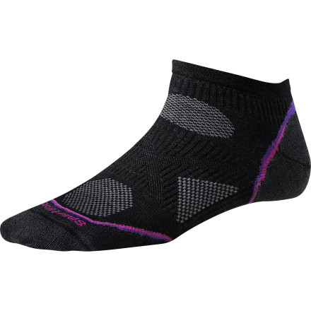 MTB We've always felt that, during the summer months, less really is more. After all, there's no real need to cover your ankles when the mercury is threatening to pop the top off your thermometer. Let the breeze take care of them with the Smartwool Women's PhD Cycle Ultra Light Micro Sock.Smartwool builds the PhD Cycle Ultra Light Micro Sock with its 4-degree Fit System, which is comprised of two different types of elastics for enhanced stretch and recovery. Patent pending Relia-Wool Technology in high-impact areas protects your foot from shock and vibration to reduce fatigue. Finally, Smartwool's low-profile toe seam reduces irritation and blistering, so you can ride longer, harder. The Smartwool Women's PhD Cycle Ultra Light Micro Sock is available in Small, Medium, and Large. It comes in Poppy, Silver, and Black. - $15.95