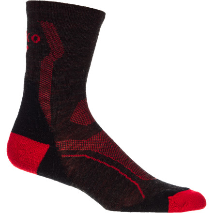 MTB Designed specifically for mountain biking in hot weather, the Teko M3RINO.XC Pro Ultralight Mountain Bike Socks provide all the benefits of merino wool construction, plus Teko's Evolution Fit, and light cushioning where you need it.The M3RINO.XC Ultralight is made with Bluesign Certified merino wool. Merino's natural anti-microbial properties keep the socks from acquiring too much of an odor, even after a couple uses. A feature like this can come in handy on multi-day tours or bikepacking trips. . Teko also built light cushion into the heel and toe to absorb fatigue-inducing shock and vibration. The fit is Teko's Evolution, a snug fit that focuses targeted support in the arch area. Teko's shrink-resistant treatment ensures the same fit on day 192 that you had the first time you put the sock on your foot. The Teko M3RINO.XC Pro Ultralight Sock comes in four sizes: Small through X-Large. It's available in Charcoal/red. - $18.95
