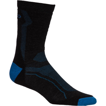 MTB Designed specifically for mountain biking in mild to moderate weather, the Teko M3RINO.XC Light Mountain Bike Sock works hard to keep your foot dry and comfortable. The combination of odor-fighting merino wool, light cushioning, and a supportive Evolution Fit will take the edge off rides from 1 to 100 miles.The M3RINO.XC Light is made with Bluesign Certified merino wool. Merino's natural fibers are breathabke, and absorb up to a third of their weight in water, all while still insulating your foot from ambient temperatures. Teko also built light cushion into the heel and toe to absorb fatigue-inducing shock and vibration.The fit is Teko's Evolution, a snug fit that focuses targeted support in the arch area. Teko's shrink-resistant treatment ensures the same fit on day 192 that you had the first time you put the sock on your foot. The Teko M3RINO.XC Light Sock comes in four sizes: Small through X-Large. It's available in Charcoal/marine. - $19.95