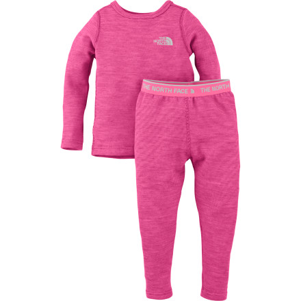 Ski Dressing your toddler during a family ski vacation is easy; just send her to bed wearing The North Face Toddler Girls' Baselayer Set. In the morning you simply need to add socks and outerwear, and presto, she's ready to head out the door for her first ski lesson. - $49.95