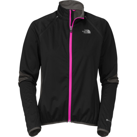 MTB You want to keep rain off your body, but just as importantly, you want sweat vapor to escape. It's a difficult task, but The North Face designed it's LWH Women's Jacket with this mission in mind. Your body naturally regulates temperature by sweating. If that moisture is trapped by a precipitation-blocking jacket you're still going to overheat and suffer from clamminess. To prevent this, The North Face uses three-layer Apex ClimateBloc for the LWH's body with FlashDry panels under the arms. The combination of these highly breathable and stretchable softshell fabrics keeps your core protected from dampness both internal and external. Articulated sleeves and engineered stretch allow you to naturally settle into the cycling position and move more freely without the fabric binding up. Elastic cuffs seal out the elements while providing a seamless interface with gloves. At the back of the LWH Jacket, a large back zip security pocket gives you a place to store items important to keep accessible. The North Face LWH Women's Jacket also has Reflective logos to make you more visible at night. It comes in White or Black with sizes available from X-Small through X-Large. - $124.95