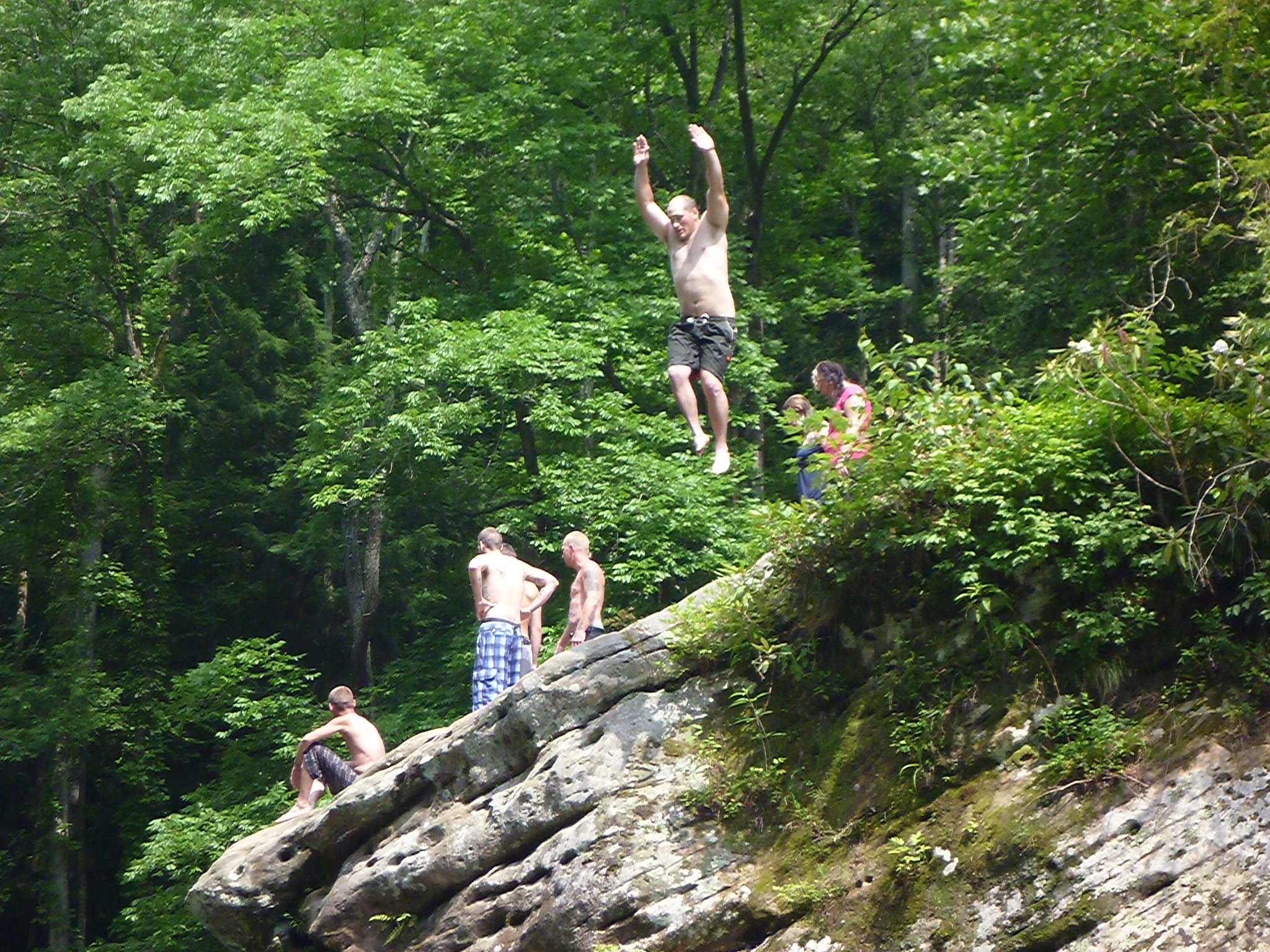Camp and Hike 30ft. rock jump @rrg
