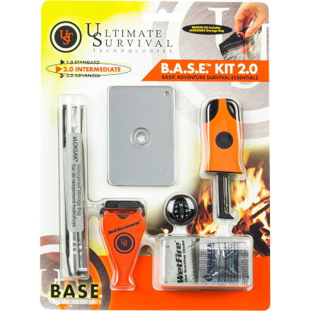 Camp and Hike Hopefully you'll never need it, but if you end up lost deep in the backcountry, you'll be glad the Ultimate Survival Technologies B.A.S.E. Kit 2.0 is stowed in your pack. The compact kit includes fire-starting materials, water-purifier tablets, a rescue whistle, and a liquid-filled compass. A waterproof storage bag keeps the kit organized and protected from wet weather. - $34.95