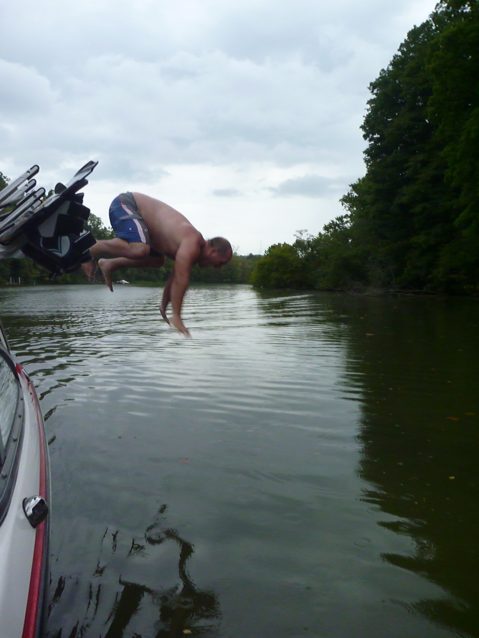 Wake trying to catch some minnows on Snag creek after wake boarding.