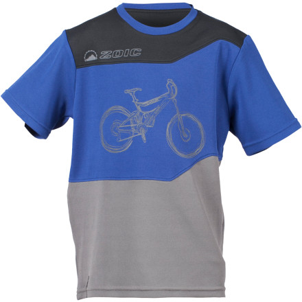 Fitness Instead of settling for some cut-rate kids' jersey, take a look at the Zoic CT Jr. Bike Jersey. The CT Jr. is loaded with all the features that you would expect in an adult jersey, but it's specifically designed to fit the young ripper. The Zoic CT Jr. Jersey is made with moisture-wicking polyester fabric to keep you dry and comfortable. While you sweat, this synthetic fabric pulls moisture away from your skin and to the surface of the fabric, where it evaporates quickly.The subtle drop tail covers you when you're bent over in the pedal position. A zippered stash pocket on the right hip protects your music and the headphone cable slit keeps your cord from getting snagged. Zoic even include reflective trim on the left sleeve to make you more visible in traffic. The Zoic CT Jr. Bike Jersey comes in sizes Small through XX-Large. It's available in Blue, White, or Nova. - $34.95
