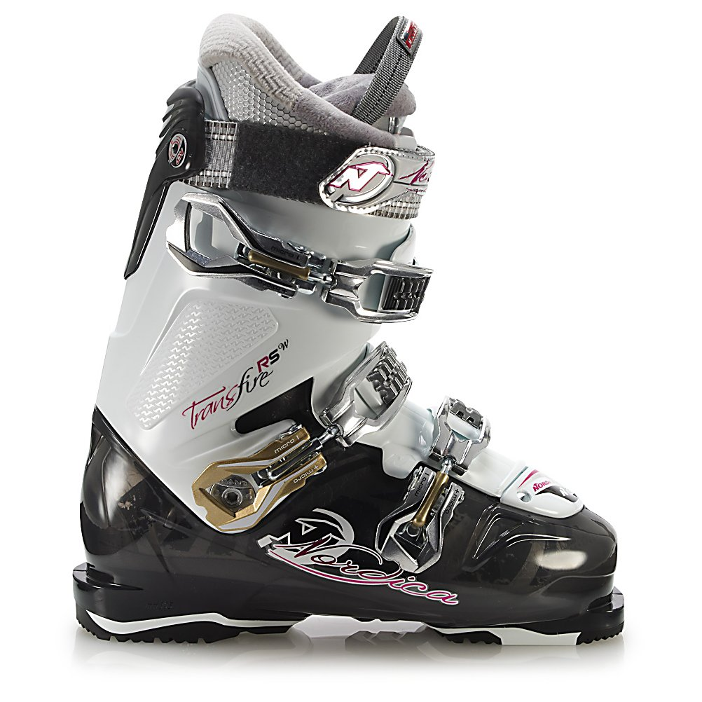 Ski Spend the daily carving up the mountain in these stylish and high-performance Nordica Transfire RS Ski Boots.  You'll have tons of features to help make this one of your most favorite boots.  A 3-Piece Shell makes entry and exit super easy so you're not wasting up all your energy before hitting the slopes.  The Custom Moldable Liner is designed to accommodate the female leg shape and will also form to the shape of your foot so that you always have the greatest comfort when out in the chilly weather.  You'll have three buckles to lock you in with three micro-adjustable buckles so you have that precise and comfortable fit.  Complete with a power strap and you'll have your heel locked in perfectly so you can tear up the mountain.  With its 90 flex designed for the intermediate skier, you'll have a high-quality and fun pair of Nordica Transfire RS Ski Boots to make your winter day in the snow amazing.  Cuff Alignment: Dual, Ski Boot Width: Medium (100-103mm), Ski/Walk: No, Prewired For Heat: No, Number of Micro Buckles: 3, Forefoot Width: 102mm at Reference Size 25.5, Buckle Count: 3, Buckle Material: Aluminum, Category: Downhill, Ski Gear Intended Use: All Mountain, Instep Height: High, Calf Volume: Medium, Skill Range: Advanced Intermediate - Expert, Model Year: 2013, Product ID: 316842, Model Number: 05019300 7H6 235, GTIN: 0885315474964, Flex Adjustment: No, Used: No, Flex: Stiff, Special Features: Power Strap, Special Features: Polyurethane Foam Liner, Warranty: One Year, Actual Flex: 90 - $119.77
