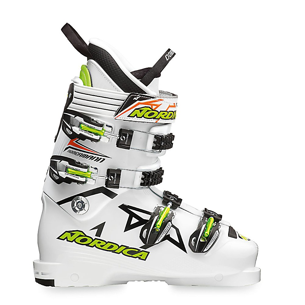 Ski Nordica Dobermann Spitfire 100 Race Ski Boots - The Nordica Dobermann Spitfire Race Boots will have you performing at your very best so you can shave as many seconds off your time as possible. Designed with an Anatomical Race Shell Construction, you will have Nordica's technology keeping you locked in and ready to win. EDT which stands for Efficient Dynamic Technology offers a carbon fiber boot board wrapped in lightweight polyurethane. This ensures a more precise connection to your ski so the energy transfers much smoother. A Race Pro Fit Liner will keep your feet comfortable and warm with all the benefits that a race liner needs. This Spitfire is equipped with a foot wrap to ensure that you have the ability to hit those specific turns at very high speeds. If you're looking for a stellar boot developed by racers that is sure to give you incredible performance then you'll want to wear the Nordica Dobermann Spitfire Race Boots on your next time out. . Actual Flex: 100, Cuff Alignment: None, Warranty: One Year, Special Features: EDT Boot Technology, Ski Boot Width: Narrow (95-99mm), Special Features: Race Pro Fit Liner, Flex: Stiff, Used: No, Ski/Walk: No, Prewired For Heat: No, Number of Micro Buckles: 4, Forefoot Width: 98mm at Reference Size 26.5, Flex Adjustment: No, Buckle Count: 4, Buckle Material: ALU, Instep Height: Standard, Calf Volume: Medium, Skill Range: Advanced - Pro, Model Year: 2012, Product ID: 316691, Model Number: 05002100 849 220 3, GTIN: 0883506943695, Ski Gear Intended Use: Race, Category: Race - $149.93