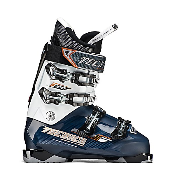 Ski Tecnica Demon 100 Ski Boots - The Tecnica Demon 100 Ski Boots are made for the athletic intermediate to advanced skier who wants a combination of high-performance and comfort in their boots. The Demon 100 has a medium to narrow forefoot and medium to narrow shaft of the leg and uses Tecnica's i-Rebound Flex Management System that gives you forward flex resistance, power, rebound, as well as rear support. The Quick Instep feature gives you a low volume performance shell fit without the inconvenience and pain during entry and exit. A softer piece of plastic is molded in the instep area to accommodate the foot to slide in and out easier. The Demon 100s Quadra Fit Liner which is a heat-moldable liner that provides you with incredible comfort and performance. By hitting up your local ski shop and heating the liners, you'll slice that breaking in process down considerably. A 40 mm Velcro Powerstrap acts as a fifth buckle to give you a secure fit along the shaft of your leg and increases the leverage you can use to drive your skis. The Velcro Spoiler is removable but can be used to place in a more upright position or removed if you want some extra leg room. Combining stellar performance with lots of comfort, the Tecnica Demon 100 Ski Boots boast a smooth flex and will keep you charging down the mountain. Features: Quadra Fit. Flex: Medium, Used: No, Ski/Walk: No, Prewired For Heat: No, Number of Micro Buckles: 4, Forefoot Width: 100mm at Reference Size 26.5, Flex Adjustment: No, Buckle Count: 4, Buckle Material: - $149.95