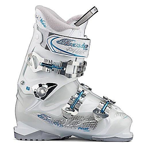 Ski Tecnica Viva Phoenix Max 6 Womens Ski Boots - The Tecnica Viva Phoenix Max 6 Ski Boots are a wonderful blend of performance and comfort for beginner to intermediate skiers with average to slightly wide feet. Its softer shell material offers the support and drive you want so you get lots of performance as well as relaxed fit. With the Viva Phoenix Max 6 the shell is a nice middle of the road flex so it will transfer energy quite well but is also rather forgiving making it a good boot to learn and progress with. Inside these boots is a Viva ComfortFit Liner with the Viva Velvet Fur lining to add the most warmth and comfort possible to the boot. The liner is also outfitted with Viva Calf Adapter construction and a Flared, Scalloped upper allowing the liner to automatically adjust to your leg and calf shape for better circulation leading to more comfortable and warmer feet. By using the 3.5 Buckle Closure system the Viva Phoenix takes even more pressure away from the shin through the use of an oversized powerstrap and cuff buckle which has a walk setting if you open the lever and set it to the inner most position on the cuff catch. For the final touches all three buckles are microadjustable so you get that customized fit and feel. If you want a boot that is comfortable, built for performance and progression, and with some style then you'll want to take these Tecnica Viva Phoenix Max 6 Shi Boots to the mountain the next time you head out. . Cuff Alignment: None, Warranty: One Year, Ski Boot Width: Medium (100-103mm), Used: No - $179.95
