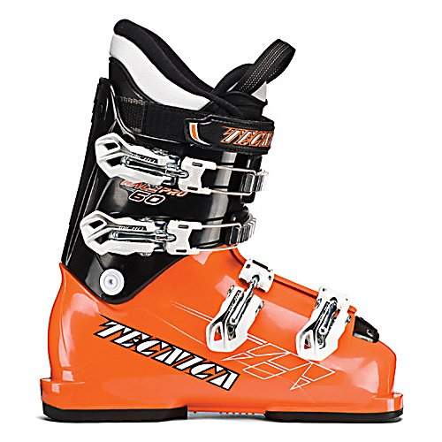 Ski Tecnica Race Pro 60 Junior Race Ski Boots - The Tecnica Race Pro 60 has long been considered the best junior race boot for the smaller and lighter weight skier who is starting to cut their teeth bashing gates. The Ultra Fit Liner is thermoformable by air, and has foot padding made from EVA rubber. A neoprene toe box will keep your little racers foot snug, but will expand with time, giving more toe room. A 45 mm Velcro powerstrap acts as a fifth buckle giving more leverage and power for the aggressive junior skier. The tongue handle pull strap makes the Race Pro 60 very easy for junior to pull this boot on all by themselves. The buckles are micro adjustable so they can get the fit dialed in just right. The 60 flex is matched up perfectly for the junior racer to have a strong range of motion, but still have support and rebound to control their skis. If you have been looking for a race boot for your junior racer to start to get used to a race feel, and give them power and support in every turn the Tecnica Race Pro 60 is the boot for them. . Skill Range: Advanced Intermediate - Expert, Model Year: 2013, Product ID: 316937, Ski Gear Intended Use: Race, Category: Race, Buckle Material: Aluminum, Buckle Count: 4, Flex Adjustment: No, Number of Micro Buckles: 4, Prewired For Heat: No, Ski/Walk: No, Used: No, Flex: Medium, Special Features: Velcro Powerstrap, Ski Boot Width: Junior, Special Features: Progressive Flex System, Warranty: One Year, Cuff Alignment: Single, Actual Flex: 60 - $119.95
