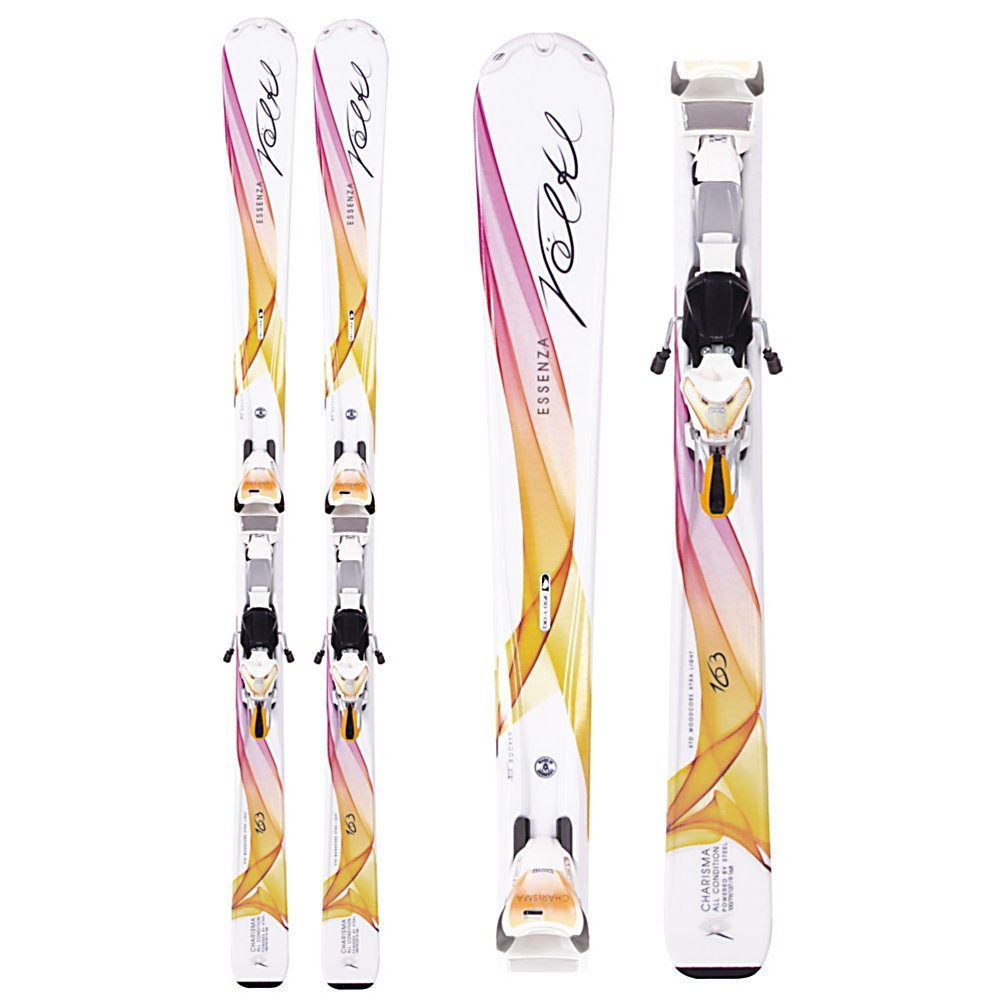 Ski Volkl Charisma 11.0 Womens Skis with IPT eMotion 11.0 TC D Bindings - The Volkl Charisma 11.0 Skis are the perfect skis for advanced or expert women who plan on spending most of the days on the groomers although occasionally up for venturing off of the trail when the snow is soft and good. The Volkl xTRALight Extended Sensorwood Core has a layer of steel to give you lots of power and strength. Volkl's women's specific Bio-Logic Technology offers a more level stance for balance and performance and so you don't feel strained in a turn . Bio-Logic side cuts are wider in the tip and narrower in the tail causing the ski to have a tighter radius in the tip of the ski and a longer radius in the tail causing the skier to complete the turn with less effort. Tip rocker makes the ski more maneuverable in any snow condition. The Bio-Logic flex is stiffer in the shovel of the ski for quick turn initiation and softer in the tail providing an easier turn so that you have a lot more control. The Bio-Logic xTRALight core uses lightweight Pawlonia materials with channels that are milled out of the bottom to shed weight and add a snappy, poppy performance. If you like to play everywhere on the mountain and you consider yourself an advanced skier then the Volkl Charisma 11.0 Skis are an excellent choice. . Model Number: 112241.156D, Product ID: 318226, Model Year: 2013, Skill Range: Advanced - Pro, Ski Gear Intended Use: All Mountain, Waist Width: 79mm, Turn Radius: 11-15, Titanium: No, Used: No, Flex: Stiff, Binding Weight Range: 100-200 lbs., Rocker: Tip Rocker/ - $449.93