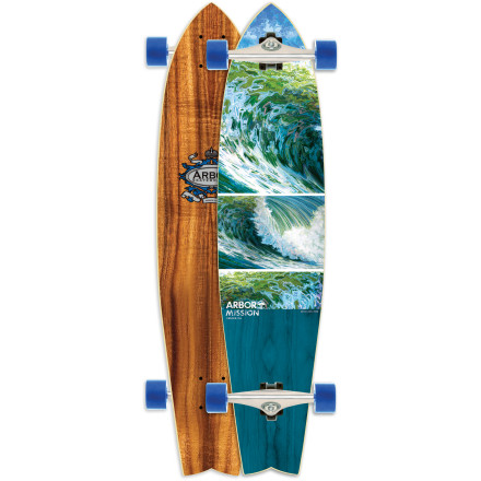 Skateboard The Arbor Mission Koa Longboard is a surfy, nimble swallowtail that isn't scared of a little gravity. A slightly longer wheelbase than the average cruiser keeps the Mission stable at speed, while the functional kicktail maintains maneuverability in tight spaces. - $179.95