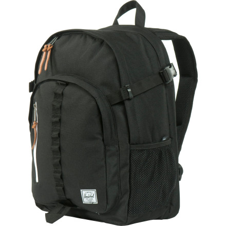 Haul your school supplies around in style with the Herschel Supply Parkgate Backpack. The spacious main compartment holds your books and binders while a padded laptop sleeve keeps your computer safe. Organize your pens and other small items in the zippered front pockets, and keep your water bottle on deck in one of the mesh side pockets. - $79.95