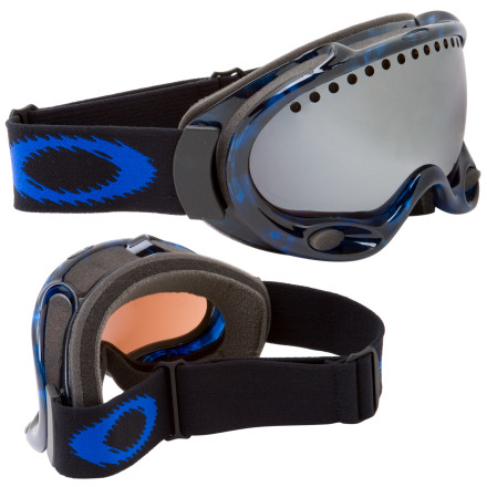 Ski Oakley's A Frame Goggles with Iridium Lenses block more visible light than the standard A-Frame lenses, making them the goggle of choice for cold, sunny days. You don't lose any of the A-Frame's famous optical clarity or wide peripheral view. A triple layer of face foam insulates and provides maximum comfort. The flexible urethane chassis is chiseled with ram-air surge ports for a circular flow of defogging ventilation. The A Frame Goggles are best for medium to small faces. - $59.98