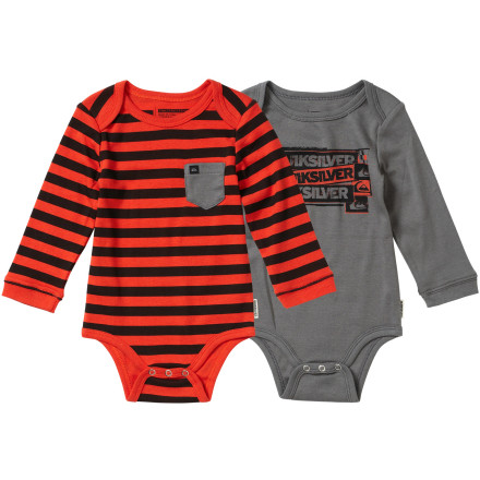 Surf Your tiny one will feel comfy and look cool in the all-cotton Quicksilver Infant Boys' Jail Bait One-Piece Suit. Worn under anything and everything, this colorful suit adds surfer-boy style to the otherwise white and weary collection of one-piece tees. - $34.00