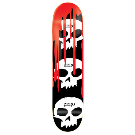 Skateboard Skulls Yep. Blood Got it. The Zero 3 Skull Blood Deck has everything you need, including a solid 7-ply maple constructionand enough sizes to fit almost everyone. - $31.47