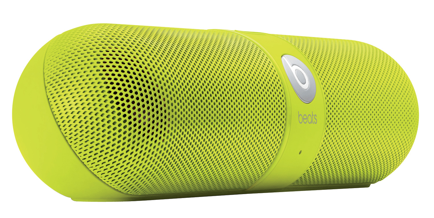 Entertainment Built to act not only as a powerful, compact speaker for listening to music but also as a portable system for taking calls, the Pill does it all with the freedom of wireless.Key Features of the Beats Pill Speakers: SMALL SIZE, BIG SOUND: Despite its compact size, the Pill produces powerful sound. It's easy to enjoy soaring highs and deep, booming bass in every room of the house. The Pill is wireless and cord-free. CHANGE TRACKS FROM YOUR PHONE: Or your laptop, or any other Bluetooth-enabled device from up to 30 feet away. The Pill frees you to roam which means you'll always have high quality sound near or far. TOTALLY PORTABLE: You're good to set up anywhere. The Pill is lightweight so it won't slow you down and small enough to fit in whatever you're carrying out the door. The carry case even comes with a handy carabiner so you can attach it to your backpack. BLUETOOTH CONFERENCING: Take that call. The Pill's Bluetooth capability and internal microphone make talking on the phone easier and better sounding than ever before. Pill Portable Stereo Speaker with Bluetooth 1.5 m audio cable (3.5mm to 3.5 mm) USB 2.0 charge/data cable Carry case with carabiner AC Power Adapter Weight (kg): 0.31 Height (mm): 45.72 Length (mm): 190.50 - $199.95