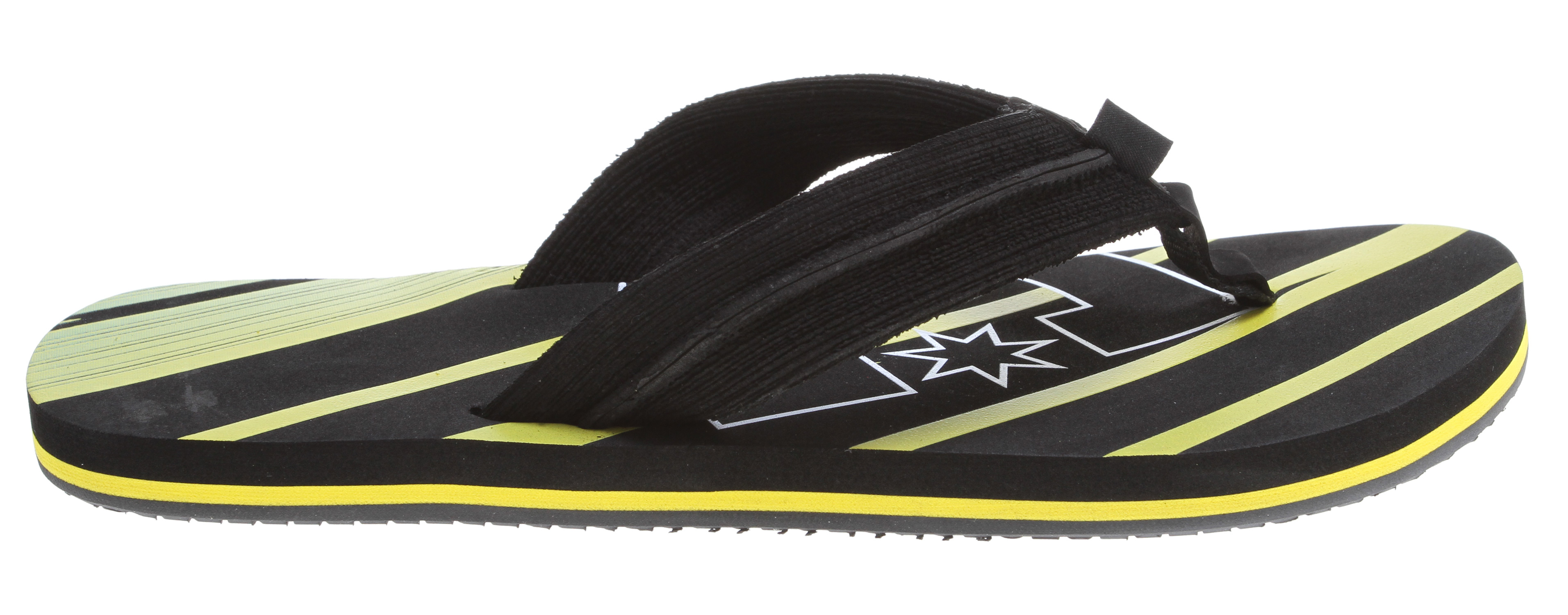 "Surf Key Features of the DC Central Graffik Sandals: Bold Graphics Brushed EVA Upper Spongy EVA Footbed With Large Graphic DC Logo Compensation Layer For Added Comfort DC's Trademarked ""Pill Pattern"" Rubber Outsole. - $15.95"
