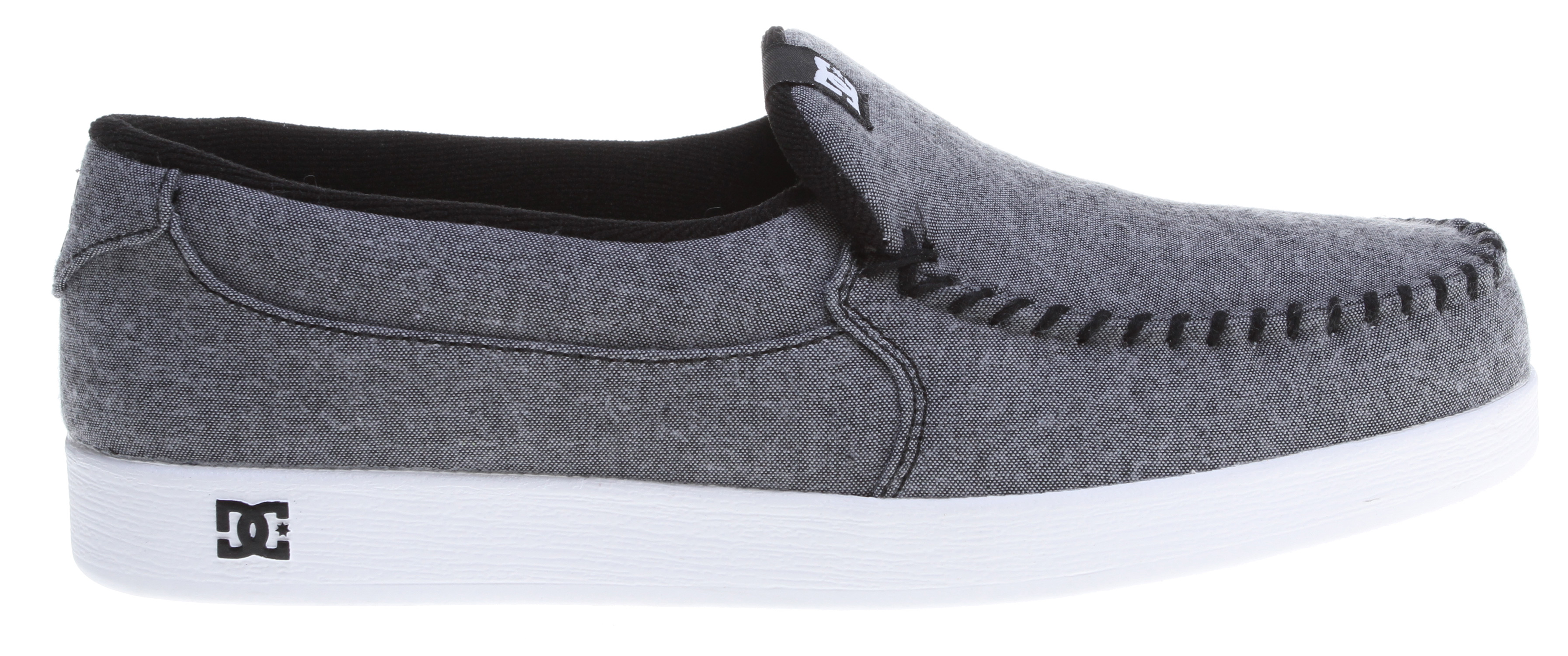 "Skateboard Key Features of the DC Villain Tx Shoes: Whip Stitch, Moc Toe Slip-On Stylized Plaid Textile Upper Soft Mesh Lining DC's Trademarked ""Pill Pattern"" Tread. - $34.95"