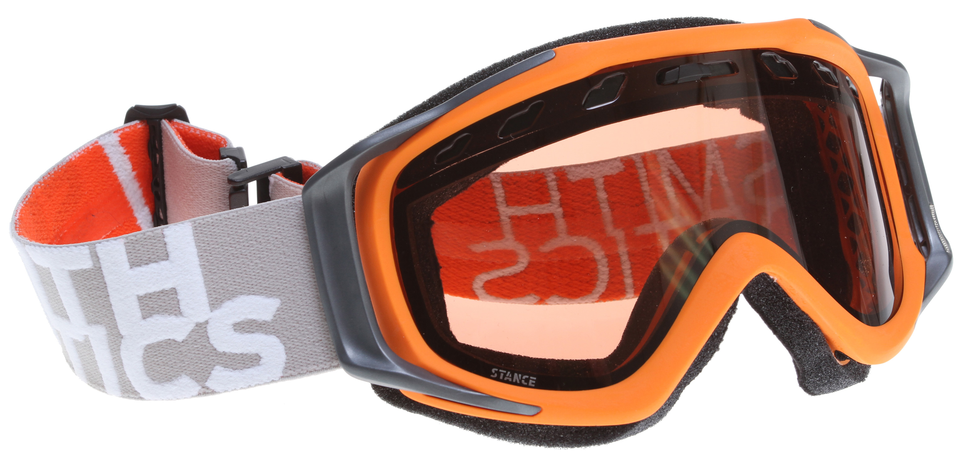 Snowboard The Stance is the direct result of our dedication to integrate performance and style. The Ergonomic Outrigger Positioning System and metal badge detailing bring refined style to the Regulator Series. Just under the surface, all Fuse devotees will be stoked to know that the Stance maintains the incredible fit and peripheral that made the Fuse so popular.Key Features of the Smith Stance Snowboard Goggles: Medium Fit and Helmet compatible Spherical and Cylindrical Carbonic-X lenses with TLT optics, Porex Filter and Fog-X anti-fog inner lens Articulating and Ergonomic outrigger positioning systems with Ultra-Wide, Silicone Backed Strap Includes Microfiber Goggle Bag Manufacturer's Lifetime Warranty 35% Visual Light Transmission (VLT) Conditions: Low/Medium/Bright Light Proprietary universal lens tint designed to reduce eye fatigue while enhancing contrast and depth perception in all conditions. A versatile lens tint designed to be used all season long. - $45.95