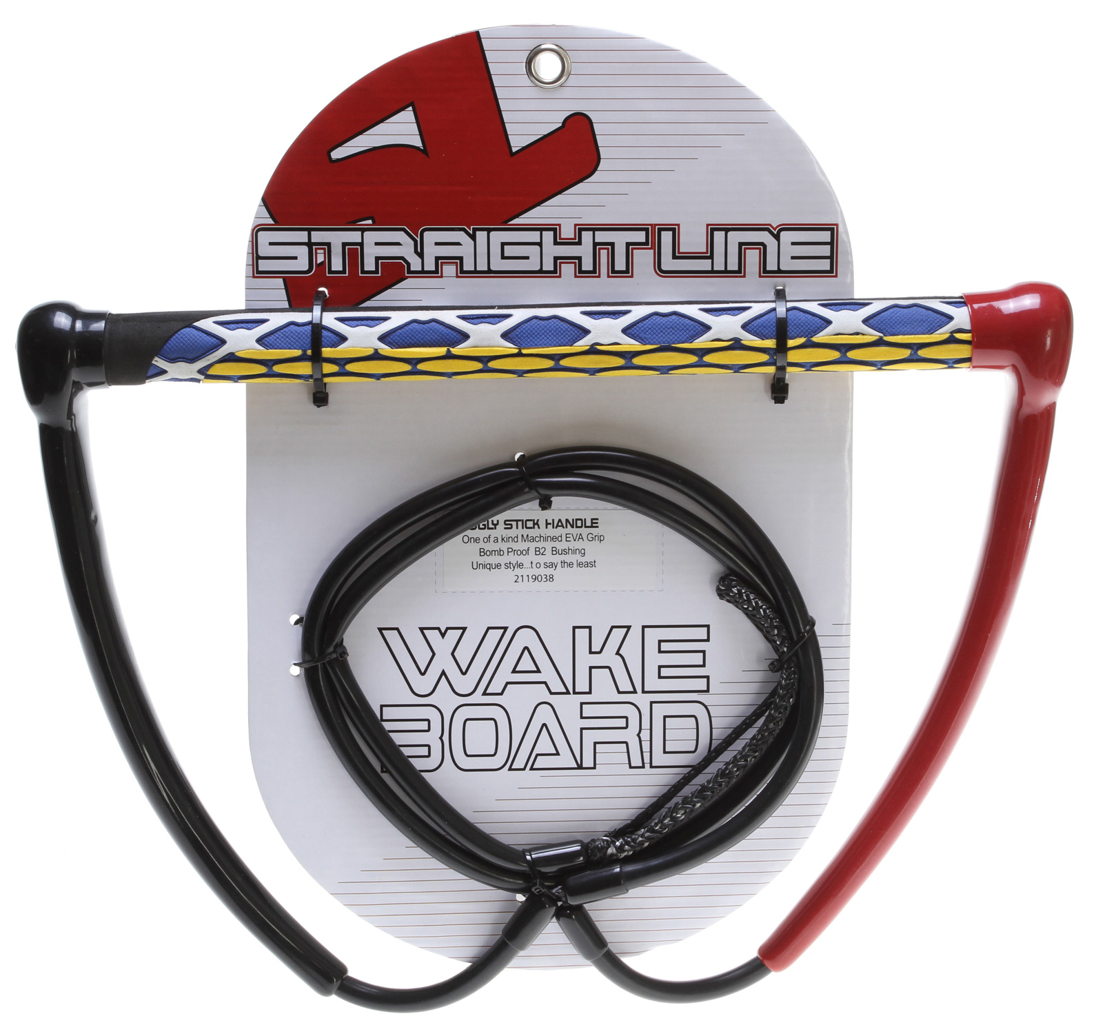 Wake Key Features of the Straight Line Ugly Stick Wakeboard Handle: 12 inch Dip Molded End Cap: PVC dipped endcap, lightweight and pad printed with unique color ways 4mm Dyneema Leader: Lightweight, Dyneema leader line, no stretch PVC Dyneema Tubing: PVC tubing that covers Dyneema leader line to resist abrasion Random EVA Molded Grip: Unique pieces of EVA pieced together to form unique grips T6-6061 Aluminum Bar: No flex, no bend, lightweight bar extrusion with built in floats. - $44.95