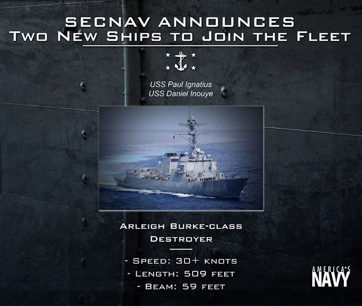 Guns and Military The Navy's next two destroyers now have names.