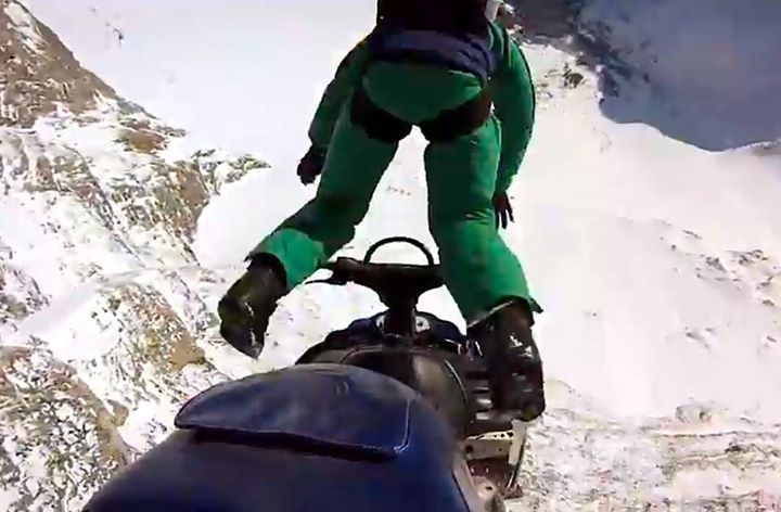Snowmobile GoPro: Erik Roner's Snowmobile B.A.S.E. Jump 800 feet... Erik base jumps a snowmobile off a cliff to honor his fallen friend, the legendary Shane McConkey. 