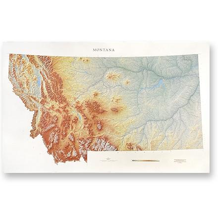 Wall map of Montana features gradation coloring representing changes in altitude and three-dimensional shading for relief. - $19.93
