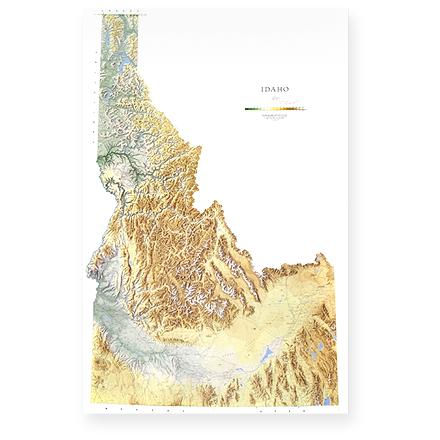 Wall map of Idaho features gradation coloring representing changes in altitude and three-dimensional shading for relief. - $19.93