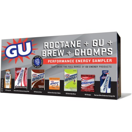Camp and Hike The GU Performance Energy Sampler box lets you try an entire lineup of GU products that are designed to work together so you can go longer and finish stronger when training and racing. 8 GU energy gels, 6 Roctane gels and 4 Chomps energy chew single-serving packets satisfy your hunger and help you stay energized. 2 Roctane Ultra Endurance drink packets, 4 Brew electrolyte tablet single-serving packets, 1 electrolyte Brew pack and 1 recovery Brew pack quench your thirst. Includes a variety of flavors; sorry, specific flavor requests cannot be accommodated. For nutrional information, please see the individual products included in the sampler box on REI.com. Please note: GU may occasionally change the contents of the Performance Energy Sampler box. Closeout. - $22.73