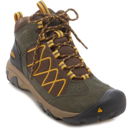Camp and Hike Lightweight, waterproof, breathable and outfitted with great traction, the men's Keen Verdi II Mid WP hiking boots are as comfortable as running shoes, but offer the support you need in hiking boots. Nylon mesh uppers feature leather overlays that provide structure and support. KEEN.DRY(TM) waterproof breathable membranes keep feet dry while allowing perspiration to dissipate before it saturates the inside of the shoe. Nylon linings wick moisture away from the feet for comfort, and are highly breathable. Supportive dual-density EVA midsoles offer lightweight cushioning and flexibility. Thermoplastic urethane shanks provide structure and support without weighing you down. The Keen Verdi II Mid WP hiking boots feature nonmarking rubber outsoles with 4mm multi-directional lugs. - $93.93